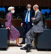 ECB-chefen Christine Lagarde, Paolo Gentiloni, EU-kommissionär med ansvar för ekonom, och Tysklands finansminister Olaf Scholz. Francisco Seco / TT NYHETSBYRÅN