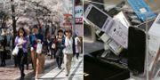 Gata i Tokyo och gamla mobiltelefoner.  Bildbyrån.