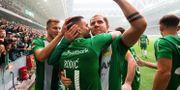 Rodic (närmast kameran) firar sitt 2–0-mål. ANDREAS L ERIKSSON / BILDBYRÅN