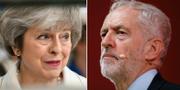 Premiärminister Theresa May och oppositionsledaren Jeremy Corbyn.  TT