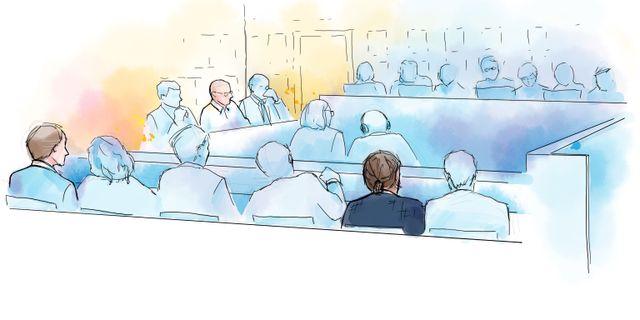 Illustration: Tre av de åtalade i Falcon Funds-härvan. Petra Frid/TT / TT NYHETSBYRÅN