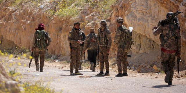 SDF-styrkor i Baghuz. Rodi Said / TT NYHETSBYRÅN