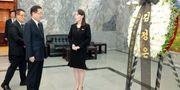 Kim Jo-Jong lämnade bland annat över en blomsterkrans. KCNA / TT NYHETSBYRÅN