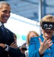 Barack Obama och Angela Merkel på teknikmässa i Hannover, Tyskland, 2016. Carolyn Kaster / TT NYHETSBYRÅN