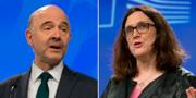 Pierre Moscovici och Cecilia Malmström.  TT