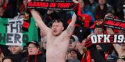 Östersunds fans på Emirates Stadium. EDDIE KEOGH / TT NYHETSBYRÅN