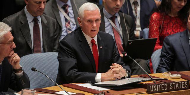 Mike Pence i FN:s säkerhetsråd.  BRENDAN MCDERMID / TT NYHETSBYRÅN
