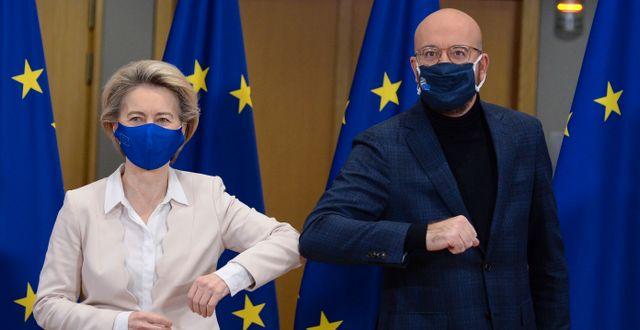 Ursula von der Leyen och Charles Michel.  Johanna Geron / TT NYHETSBYRÅN