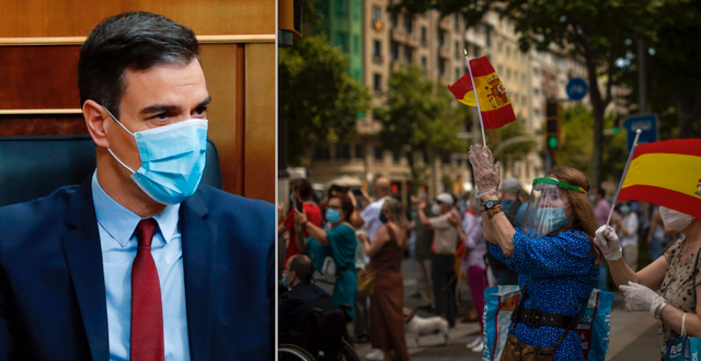 Pedro Sanchéz/Demonstranter i Spanien. TT