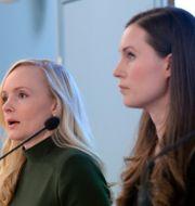 Inrikesminister Maria Ohisalo och statsminister Sanna Marin.  Mikko Stig / TT NYHETSBYRÅN