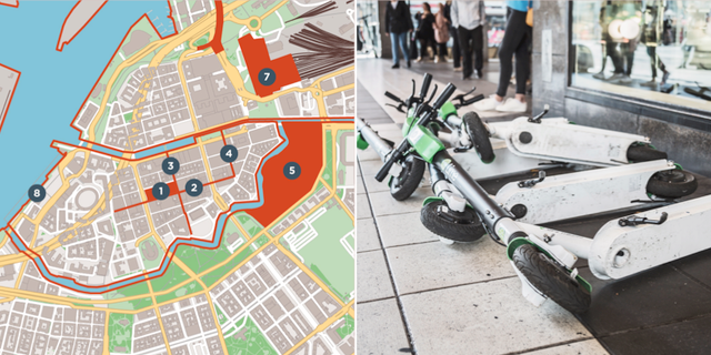 Kartan t.v. visar var cyklar inte får lämnas eller parkeras Göteborg stad/TT