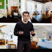 Airbnb co-founder and CEO Brian Chesky speaks during an event Thursday, Feb. 22, 2018, in San Francisco. Eric Risberg / TT NYHETSBYRÅN