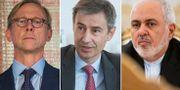 USA:s Iransändebud Brian Hook, Schweiz ambassadör i Iran Markus Leitner och Irans utrikesminister Javad Zarif. TT/Wikimedia Commons
