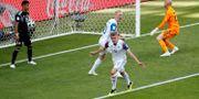 Islands Alfred Finnbogason firar målet mot Argentina.  Christian Hartmann / TT NYHETSBYRÅN