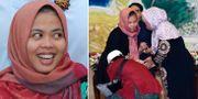 Siti Aisyah tillsammans med sina föräldrar efter frisläppandet.  TT