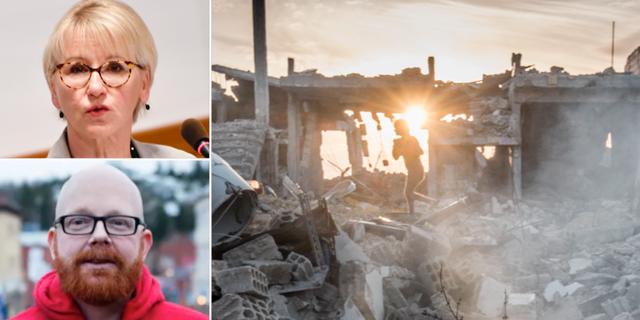Margot Wallström, Ola Mattsson och ett barn som leker i Kobanes ruiner. TT/Rädda barnen
