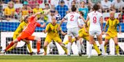 Nilla Fischer räddar bollen på mållinjen i slutminuterna. PETTER ARVIDSON / BILDBYRÅN