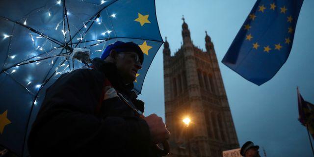 Man utanför parlamentet i London på tisdagen.  HANNAH MCKAY / TT NYHETSBYRÅN