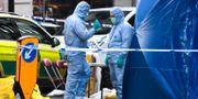 Kriminaltekniker arbetar på brottsplatsen.  Alberto Pezzali / TT NYHETSBYRÅN
