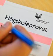 Person som skriver högskoleprovet.  HENRIK MONTGOMERY / TT / TT NYHETSBYRÅN