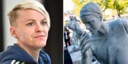 Nilla Fischer och statyn. TT