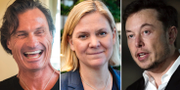 Petter Stordalen, Magdalena Andersson och Elon Musk. TT