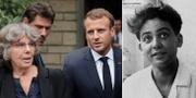 Macron tillsammans med Maurice Audins dotter (t v), Audin före försvinnandet (t h). TT