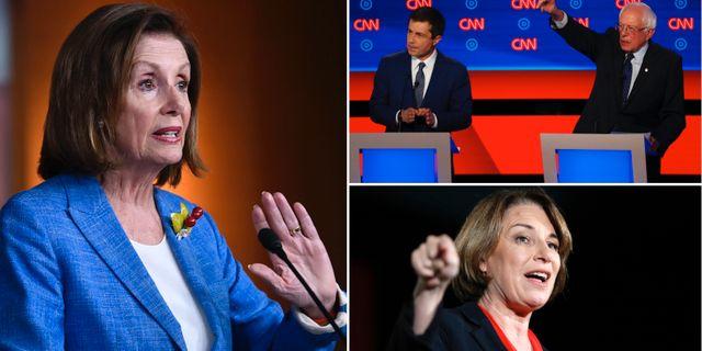 Nancy Pelosi/Pete Buttigieg och Bernie Sanders/Amy Klobuchar. TT