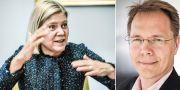 Finansministern Magdalena Andersson, S, och Aktiespararnas vd Joacim Olsson.