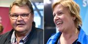 Peter Lundgren och Karin Karlsbro inför debatten. TT