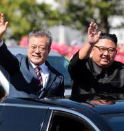 Moon Jae-In och Kim Jong-Un. Arkivbild. TT NYHETSBYRÅN