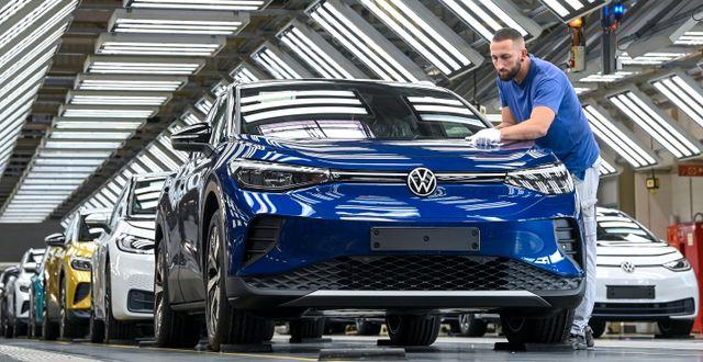 Det var i samband med lanseringen av den nya modellen ID4 i USA som aprilskämtet spreds. Hendrik Schmidt / TT NYHETSBYRÅN