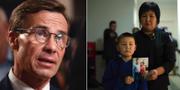 Ulf Kristersson / Sala Jimboai med sin son håller upp en bild på sin make som fängslats i läger i Kina. Arkivbild. TT