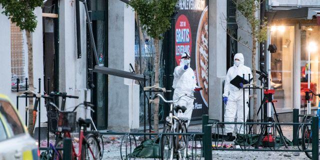 Kriminaltekniker undersöker brottsplatsen på Stora södergatan i Lund.  Johan Nilsson/TT / TT NYHETSBYRÅN