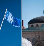 Sverige och FN:s flaggor samt  Stockholms moské  TT NYHETSBYRÅN