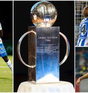 IFK Norrköpings David Boo Wiklander och Alhaji Kamara, IFK Göteborgs Mads Winther Albaek och AIK:s Stefan Ishizaki. TT