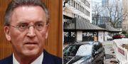 John Ausonius tyske advokat Joachim Bremer till vänster. Mövenpick restaurang i Frankfurt am Main där den 68-åriga Blanka Zmigrod mördades till höger.