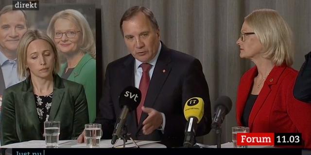 Jytte Guteland, Stefan Löfven och Heléne Fritzon.  SVT