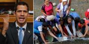 Juan Guaidó/Människor i Caracas som hämtar vatten vid en brunn. TT