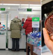 Ett svenskt apotek och bakterier.  TT