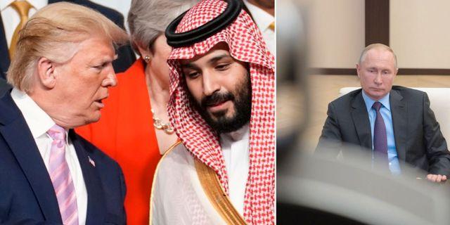 Arkivbilder: USA:s president Donald Trump skakar hand med Saudiarabiens kronprins Muhammed bin Salman, Rysslands president Vladimir Putin.