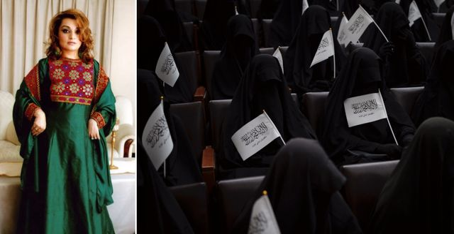 Bahar Jalali visar upp sin traditionella afghanska klänning på Twitter. Skärmdump Bahar Jalalis Twitter / TT