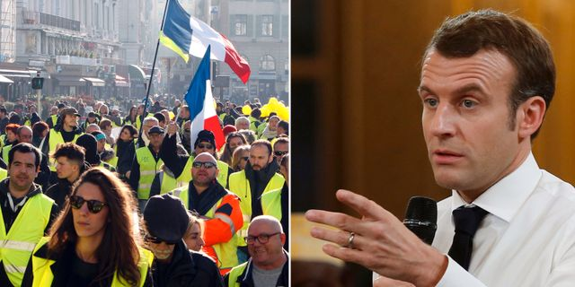 Protester / Emmanuel Macron. TT