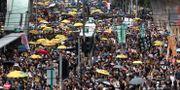 Demonstranter samlades ännu en gång i Hongkong för att protestera. Vincent Yu / TT NYHETSBYRÅN/ NTB Scanpix
