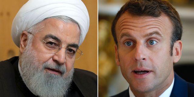Hassan Rouhani/Emmanuel Macron.  TT.