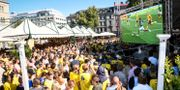 Svenska fotbollsfans ser sommarens match mellan Mexiko och Sverige på Norra bantorget i Stockholm. Fredrik Sandberg/TT / TT NYHETSBYRÅN