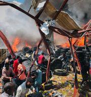Efter ett luftangrepp i staden Mekele i Tigrayregionen TT NYHETSBYRÅN
