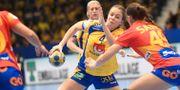 Olivia Mellegard i mötet mot Spanien, där Sverige vann med 25-19. Fredrik Sandberg/TT / TT NYHETSBYRÅN