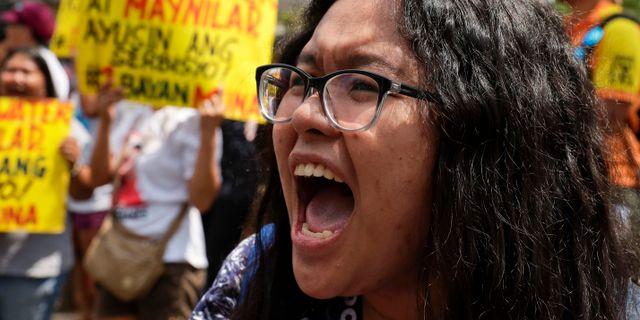 Protester mot vattenbrist i Filippinernas huvudstad Manilla. Aaron Favila / TT NYHETSBYRÅN