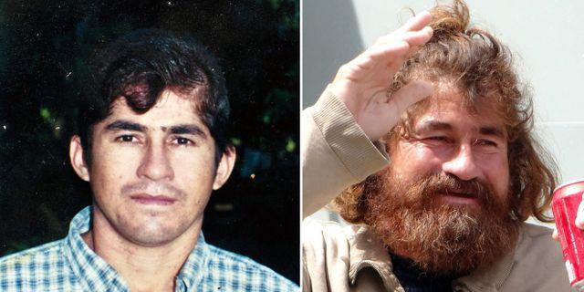 Salvador Alvarenga före och efter han blev räddad. JOSE CABEZAS / HILARY HOSIA / AFP